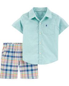 Carter's 2-Piece Oxford Button-Front Shirt & Plaid Short Set - Mint, 24 Months