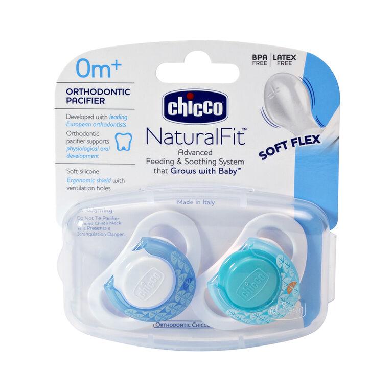 Ensemble de 2 sucettes orthodontiques Deco NaturalFit de Chicco, 0 Mois+ - Bleu.
