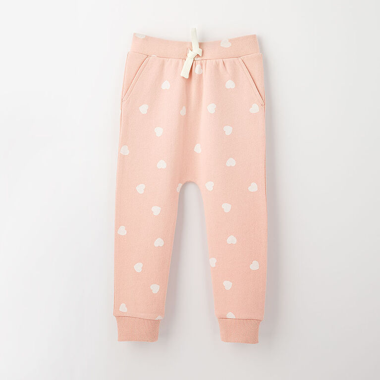 drop-crotch cozy sweats, 18-24m - light pink
