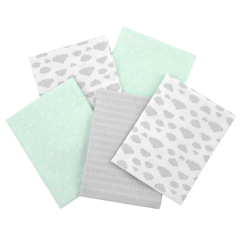 Gerber 5 Pack Green Flannel Receiving Blankets Babies R