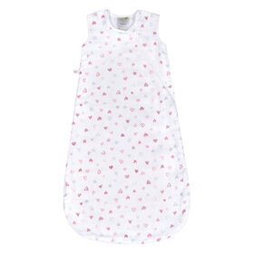 Perlimpinpin cotton muslin sleep bag - Hearts, 0-6 Months