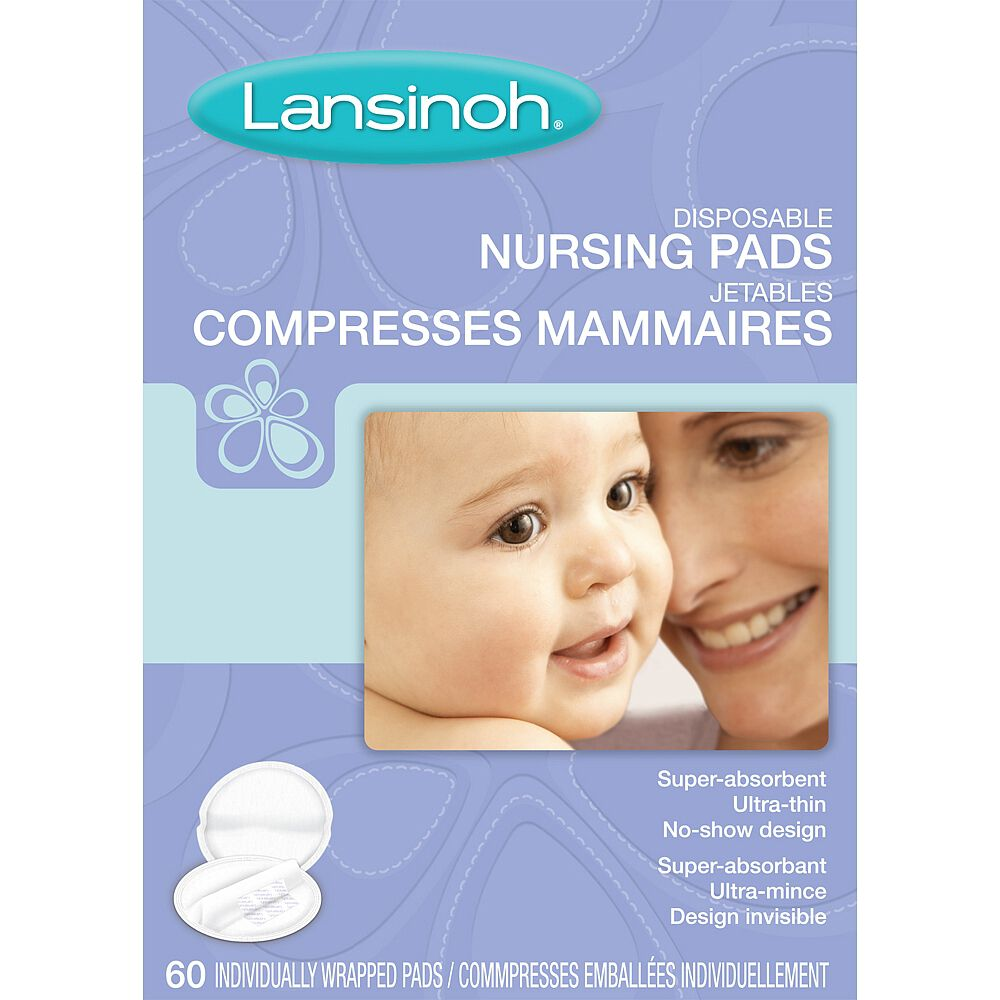 LANSINOH DISPOSABLE NURSING PADS 60 INDIVIDUALLY WRAPPED PADS NURSING PADS