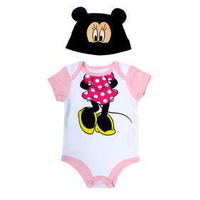 Disney Minnie Mouse 2-Piece Bodysuit and Hat Set - Pink,  Newborn