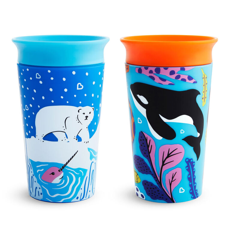 Miracle 360° WildLove Sippy Cup 2 pack - Orca/Polar Bear