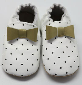 Tickle-toes White with Dots & Gold Bow 100% Soft Leather Shoes 6-12 Months