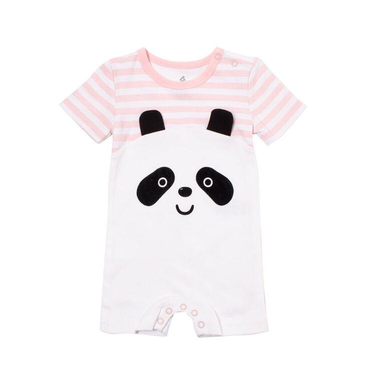 Snugabye Girls-Panda Face Romper-Pink/White Stripes 9-12 Months