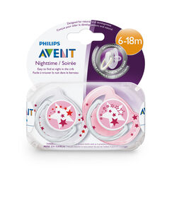 Philips AVENT - BPA Free Nighttime Pacifier, 6-18 Months, 2-Pack, Pink/Purple