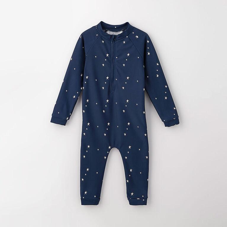 wavy baby full rashguard, 6-9m - dark blue
