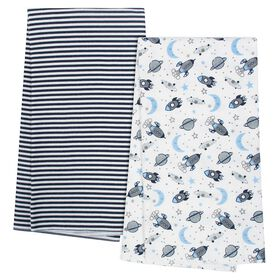 Gerber Organic 4-Pack Flannel Blankets, Outerspace and Stripe