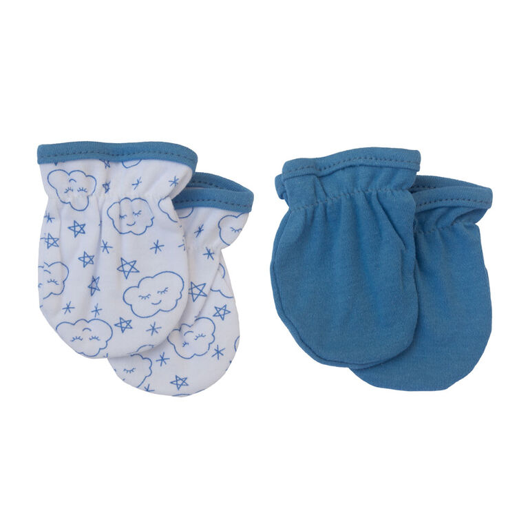 Koala Baby 2 Pack Baby Mittens - Blue Clouds, size 3-6 months