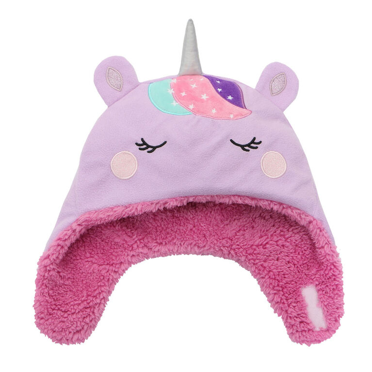 FlapJackKids - Baby, Toddler, Kids, Girls Reversible Sherpa Fleece Hat - Double Layered - Unicorn/Narwhal - Large 4-6 years