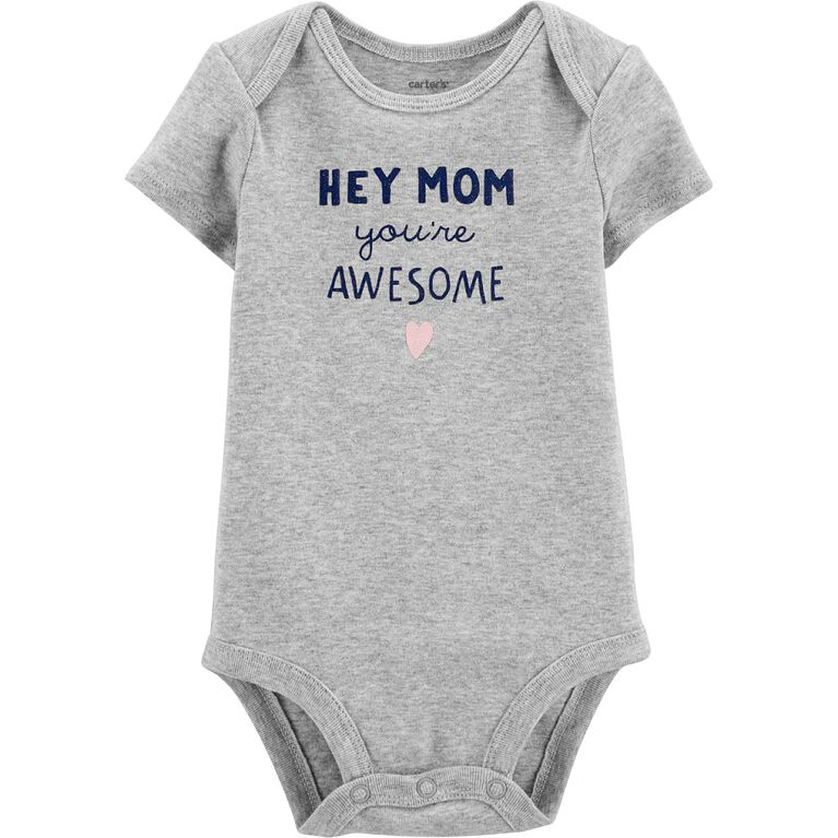 Carter's Hey Mom You're Awesome Collectible Bodysuit - Grey, 9 Months