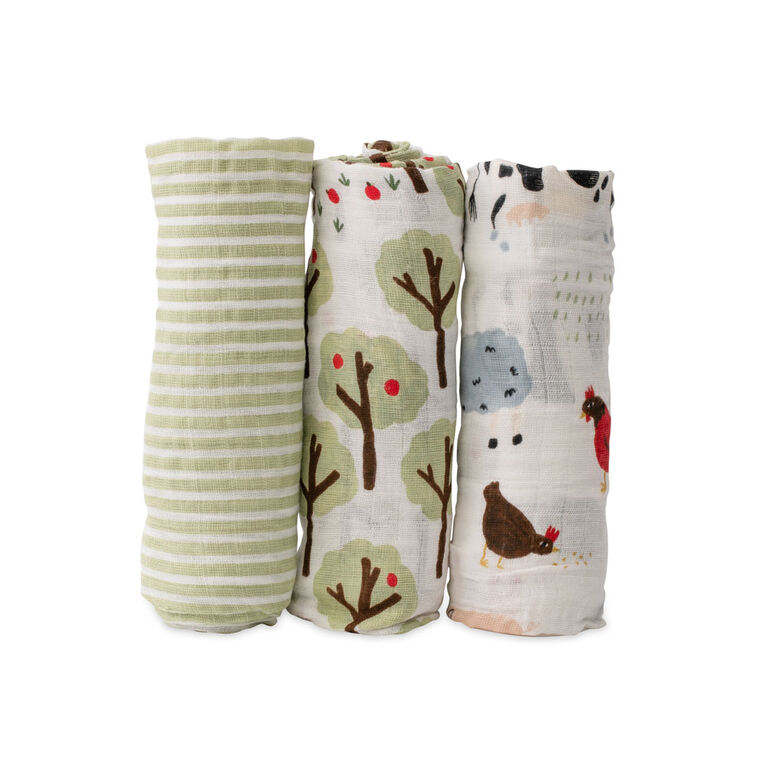 Red Rover - Cotton Muslin Swaddle 3 Pack - Family Farm - R Exclusive