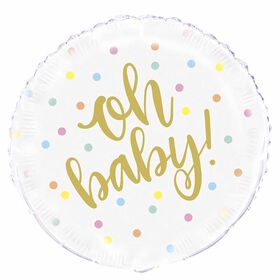"""Oh Baby"""" Gold Baby Round Foil 18 - English Edition"""