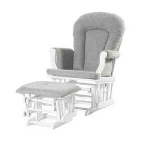 Child Craft Forever Eclectic Cozy Glider and Ottoman, Matte White with Light Gray Cushion