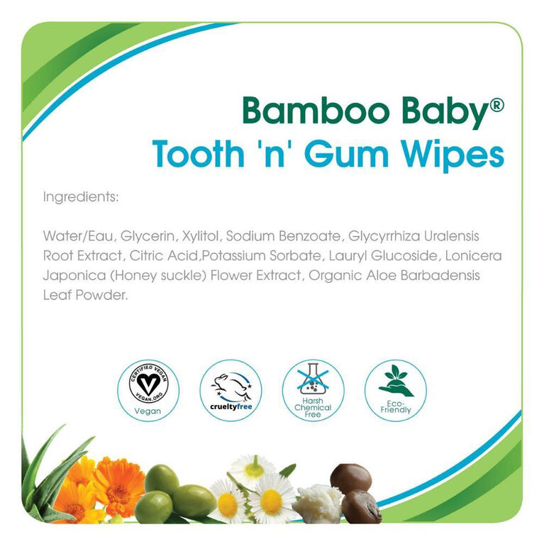 Aleva Naturals Bamboo Baby Tooth & Gum Wipes 30 count