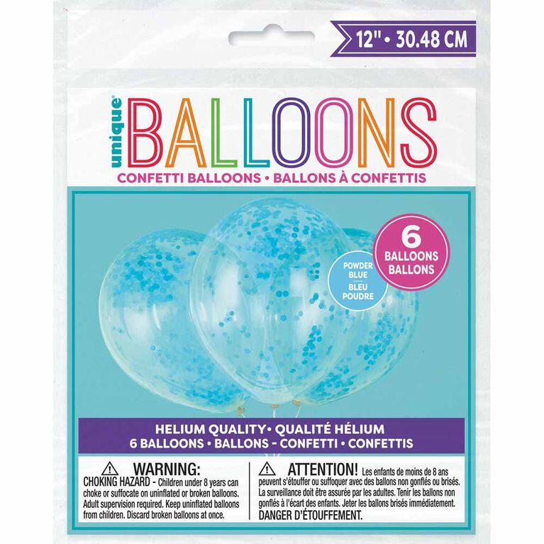 6 Ballons Transparents En Latex Avec Confettis Bleu Poudre 12 ``- Pré-Remplis