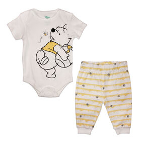 Disney Winnie the Pooh Bodysuit with Pant - Yellow, 9 Months