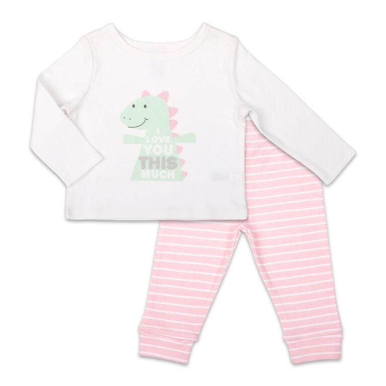 Ensemble combinaison à manches longues pour fille Koala Baby Dinomite avec pantalon, I Love You This Much - 3-6 Mois