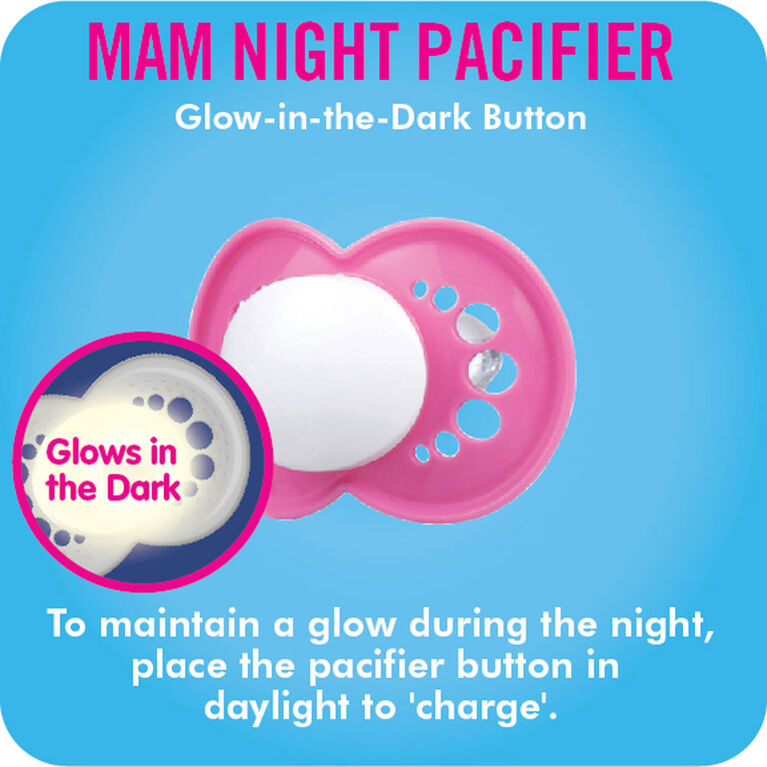 MAM Night Silicone Pacifier, 6+ Months, 2-Pack - Blue/Clear