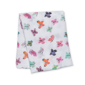 Lulujo - Butterfly Cotton Muslin Swaddling Blanket