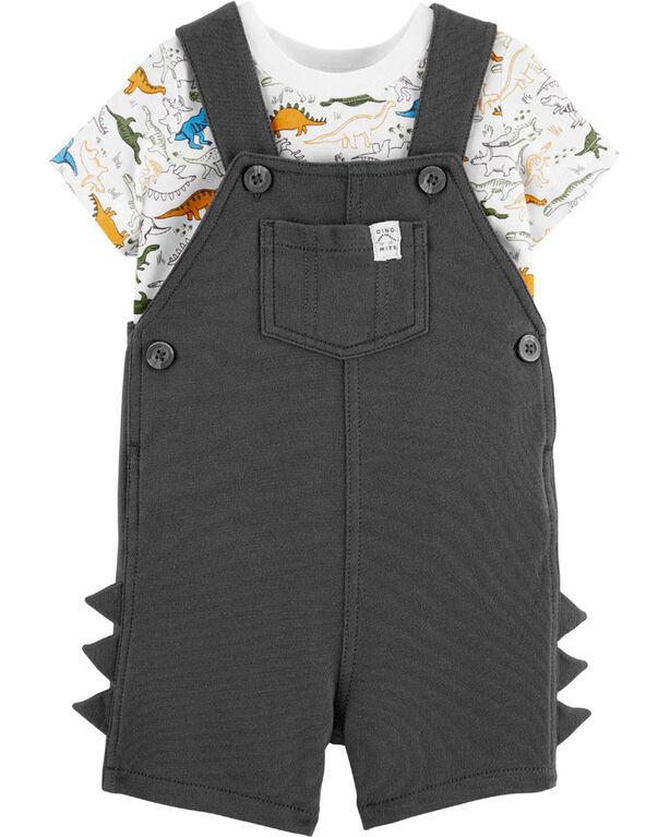 Ensemble 2 pièces t-shirt à dinosaure et salopette courte Carter's – charbon, 6 mois