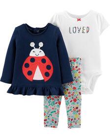 Carter's 3-Piece Ladybug Bodysuit Pant Set - Navy/Ivory, 3 Months