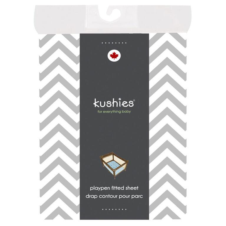Kushies drap contour en flanelle pour parc - chevron gris.