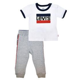 Levis ensemble Haut et Pantalon Jogging - Blanc, 6 Mois