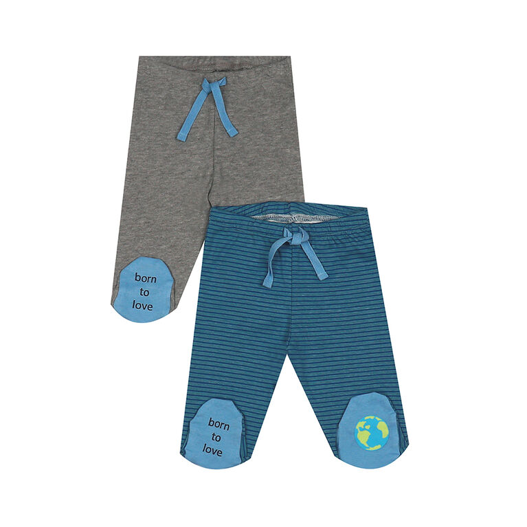 earth by art & eden - Ian Footed Leggings Multi - 2 Pack - Niagra Multi, 9 Months