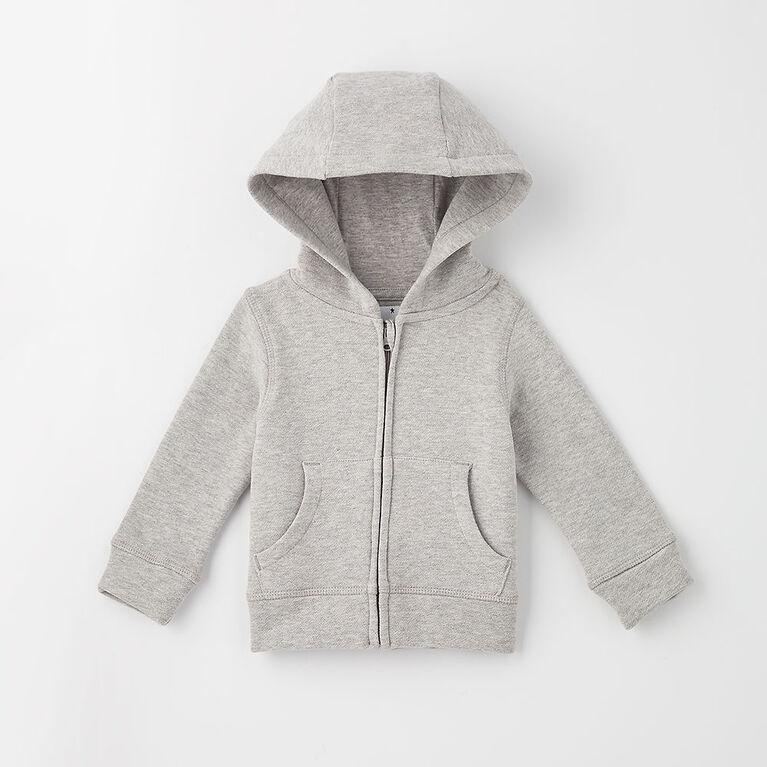 zip happy hoodie, 9-12m - grey mix