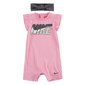 Nike Romper with Headband - Pink, 3 Months