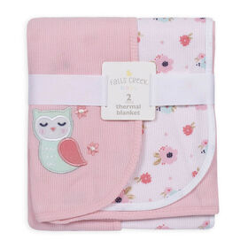 Fall's Creek  2Pk Thermal Blankets - Flowers & Owl - English Edition