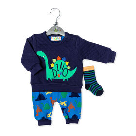 Lily & Jack - 3 Piece Quilted Set: Dinosaur - 3-6 Months