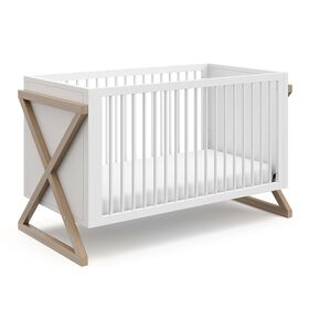Storkcraft Equinox 3-in-1 Convertible Crib - White/Vintage Driftwood.