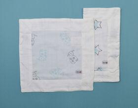 Couverture de sécurité en mousseline BBZanimo (emballage de 2) - Mouton aqua + Étoiles aqua.