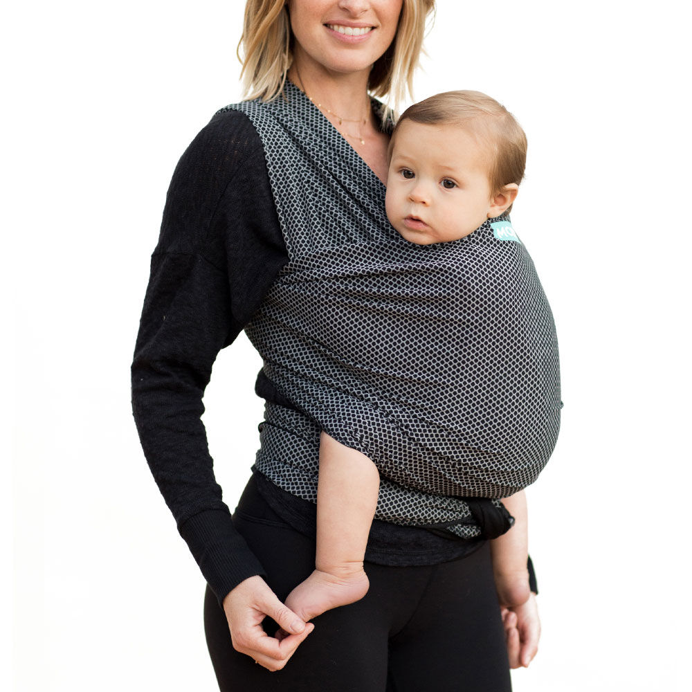 Black Moby Flex Baby Wrap Carrier and Newborn Wrap Carrier - Toddler Front and Hip Baby Wrap for Mom Or Dad Wrap Baby Carrier Ideal for Parents On The Go A Registry Must Have Infant