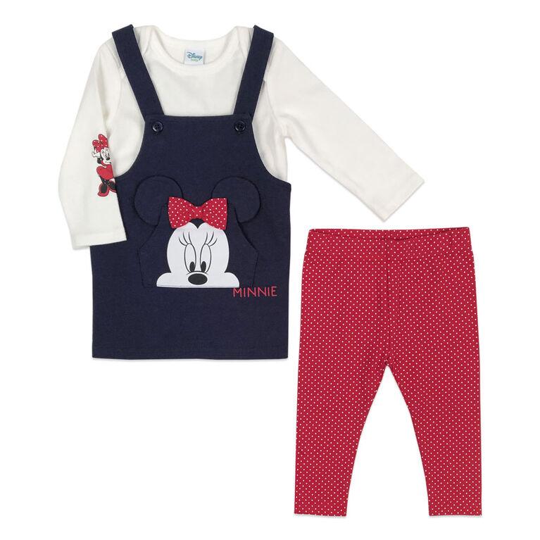 Disney Minnie Mouse Ensemble combinaison 3 Pièces - Rouge, 12 Mois