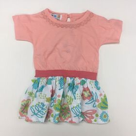 Coyote and Co. Salmon Pink and Multi Print Short Sleeve Tee Dress - size 9-12 months
