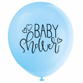 "Blue ""Baby Shower"" 12"" Latex 8 pieces - English Edition"