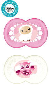 Mam Animals 2-Pack Silicone Pacifier 6+ - Pink