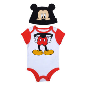 Disney Mickey Mouse Bodysuit with Hat - Red, 3 Months