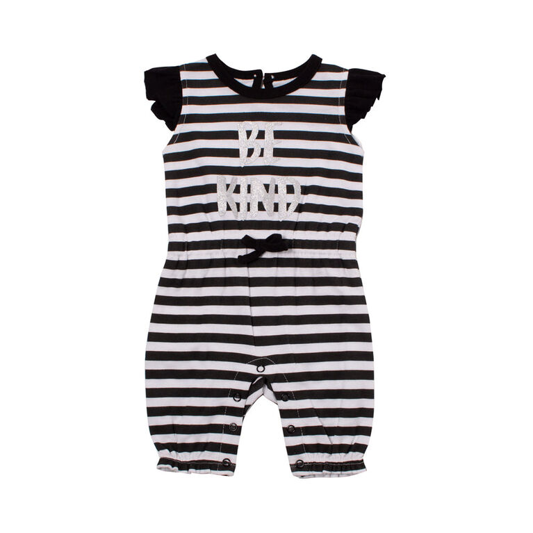 Snugabye Girls-Ruffle Sleeve Long Romper-Blk/White 0-3 Months