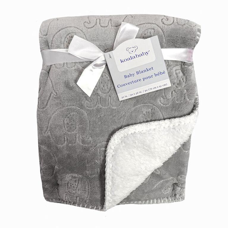 Koala Baby - Embossed Sherpa Blanket - Grey Elephant