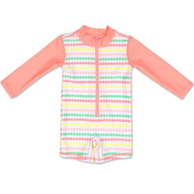 Barboteuse Baby Koala manches longues rayures corail, 3 - 6 mois