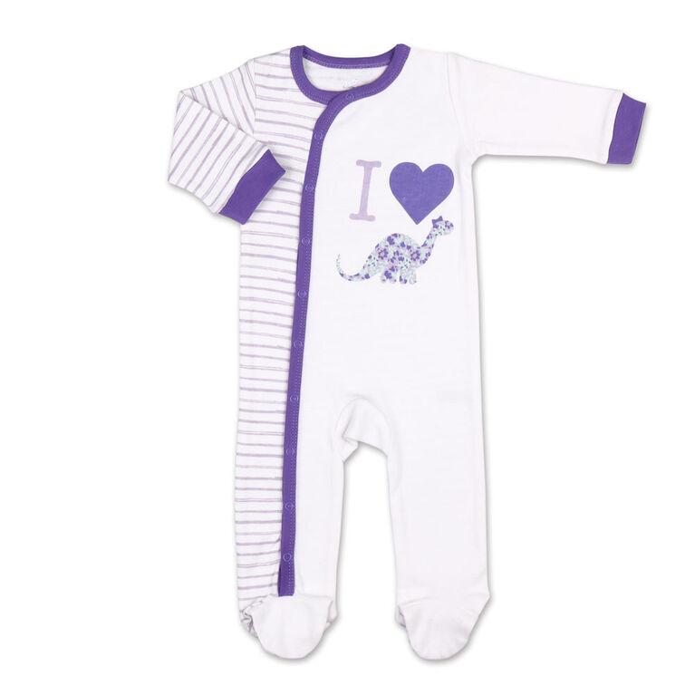Dormeuse Koala Baby, Purple Dino Stripes, 0-3 Mois