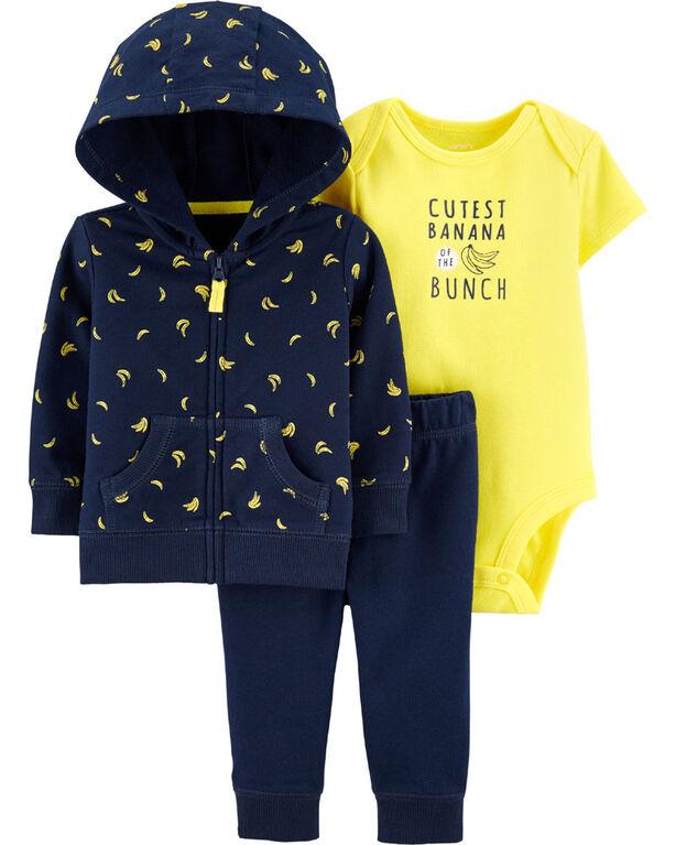 Carter's 3-Piece Bananas Cardigan Set - Navy/Yellow, 9 Months