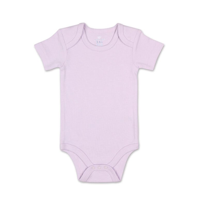 Koala Baby 4Pk Short Sleeved Solid Bodysuits, Pink/Lavender/Heather Grey/White, 6 Month