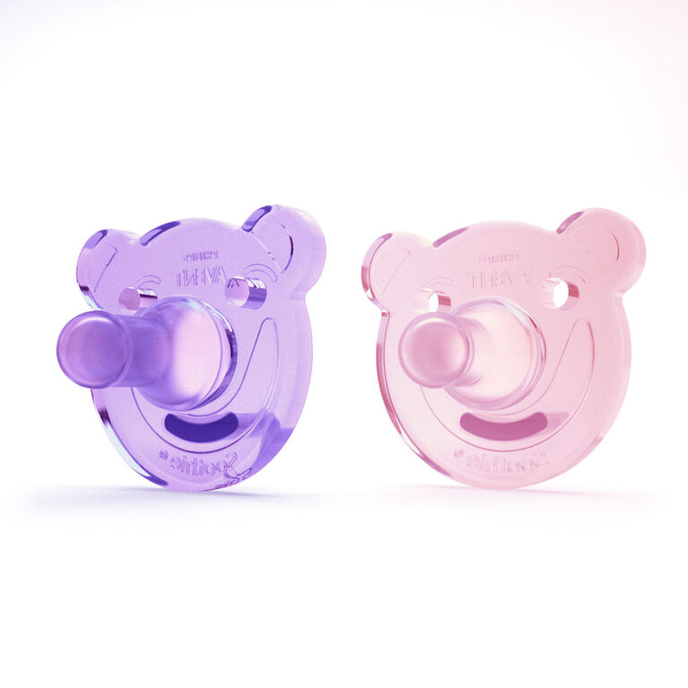 Philips AVENT Soothie - Bear, 0-3 Months, 2-Pack, Purple/Pink