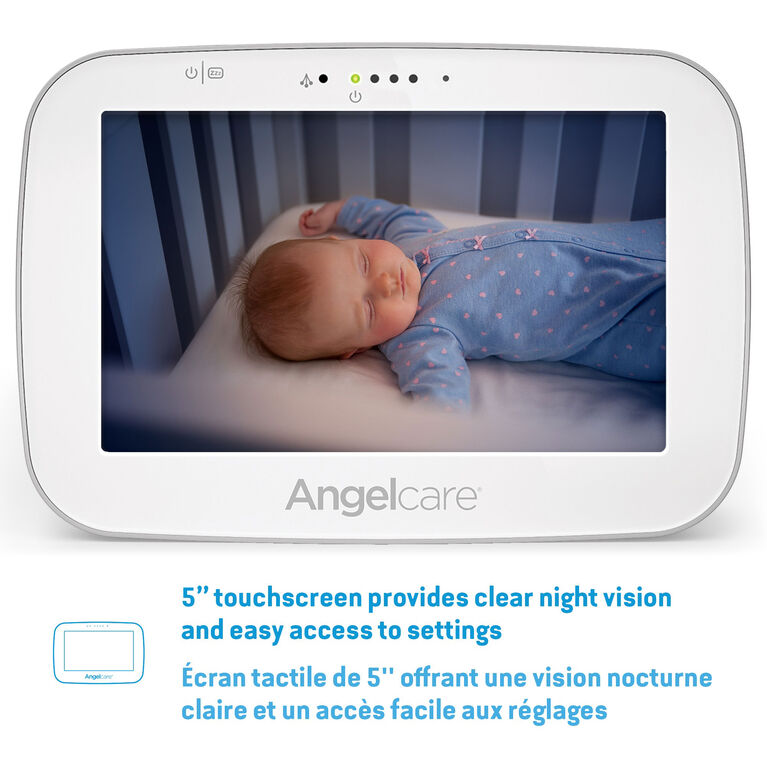 Angelcare® AC527 Baby Movement Monitor with Sound and Video, 5'' Touchscreen